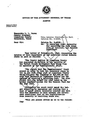 Primary view of object titled 'Texas Attorney General Opinion: O-4428'.