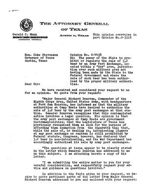 Primary view of object titled 'Texas Attorney General Opinion: O-4438'.