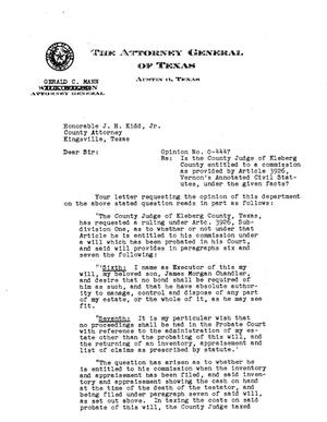 Primary view of object titled 'Texas Attorney General Opinion: O-4447'.