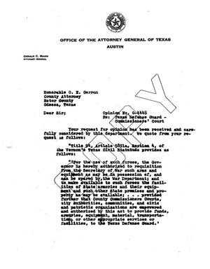 Primary view of object titled 'Texas Attorney General Opinion: O-4448'.
