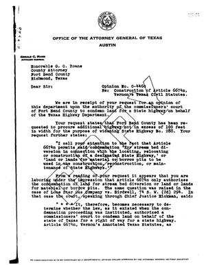 Primary view of object titled 'Texas Attorney General Opinion: O-4460'.