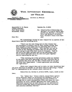 Primary view of object titled 'Texas Attorney General Opinion: O-4464'.