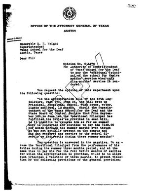 Primary view of object titled 'Texas Attorney General Opinion: O-4476'.