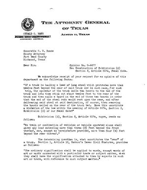 Primary view of object titled 'Texas Attorney General Opinion: O-4477'.