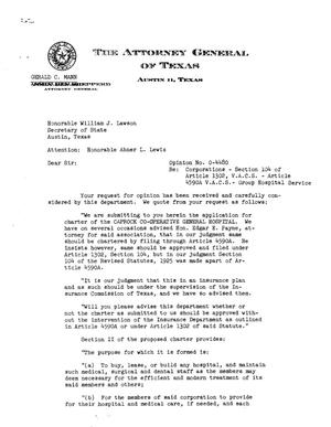 Primary view of object titled 'Texas Attorney General Opinion: O-4480'.