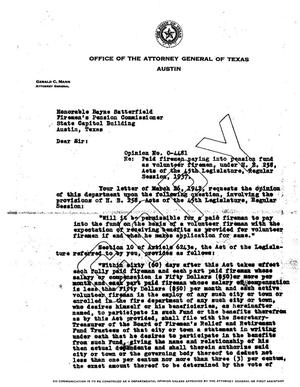 Primary view of object titled 'Texas Attorney General Opinion: O-4481'.