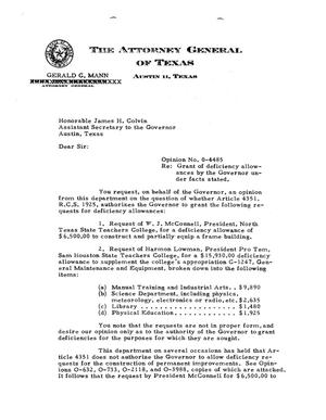 Primary view of object titled 'Texas Attorney General Opinion: O-4485'.