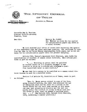Primary view of object titled 'Texas Attorney General Opinion: O-4486'.