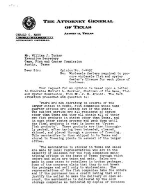 Primary view of object titled 'Texas Attorney General Opinion: O-4497'.