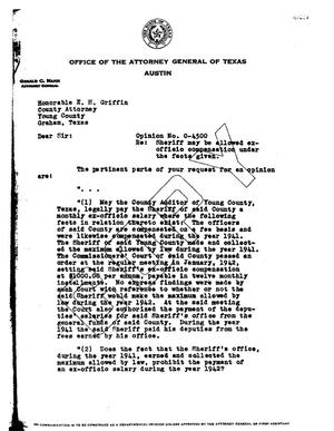 Primary view of object titled 'Texas Attorney General Opinion: O-4500'.