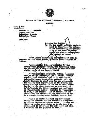 Primary view of object titled 'Texas Attorney General Opinion: O-4508'.