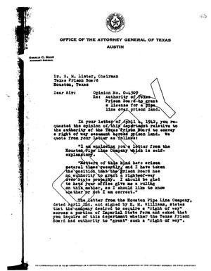 Primary view of object titled 'Texas Attorney General Opinion: O-4509'.