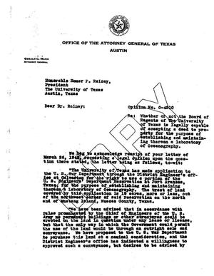 Primary view of object titled 'Texas Attorney General Opinion: O-4510'.