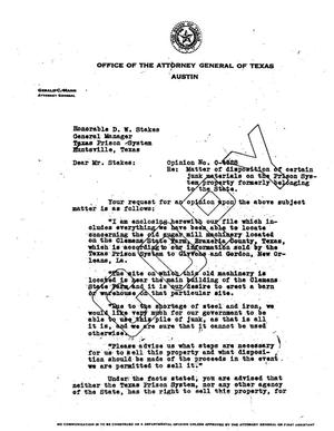 Primary view of object titled 'Texas Attorney General Opinion: O-4528'.