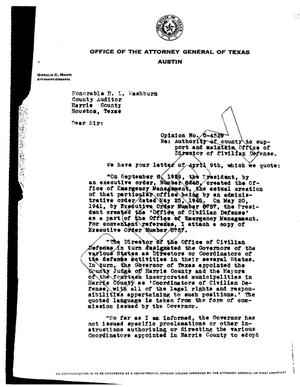 Primary view of object titled 'Texas Attorney General Opinion: O-4529'.