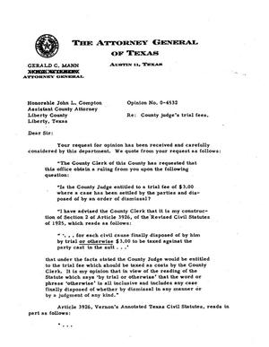 Primary view of object titled 'Texas Attorney General Opinion: O-4532'.