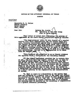Primary view of object titled 'Texas Attorney General Opinion: O-4534'.