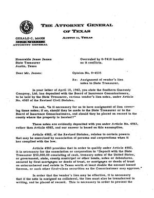 Primary view of object titled 'Texas Attorney General Opinion: O-4535'.
