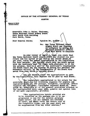 Primary view of object titled 'Texas Attorney General Opinion: O-4537'.