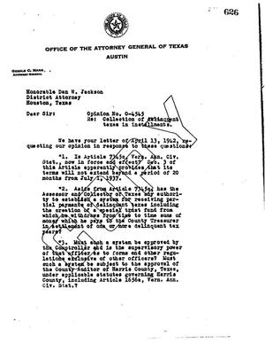 Primary view of object titled 'Texas Attorney General Opinion: O-4545'.