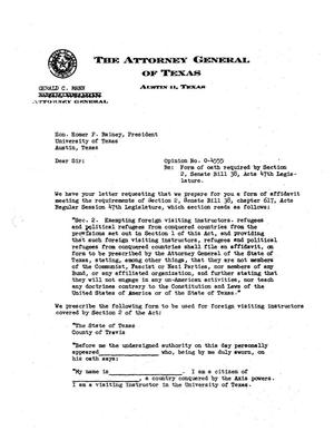 Primary view of object titled 'Texas Attorney General Opinion: O-4555'.