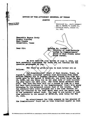 Primary view of object titled 'Texas Attorney General Opinion: O-4558'.