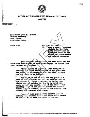 Primary view of object titled 'Texas Attorney General Opinion: O-4591'.