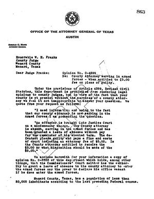 Primary view of object titled 'Texas Attorney General Opinion: O-4599'.