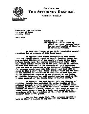 Primary view of object titled 'Texas Attorney General Opinion: O-4602'.