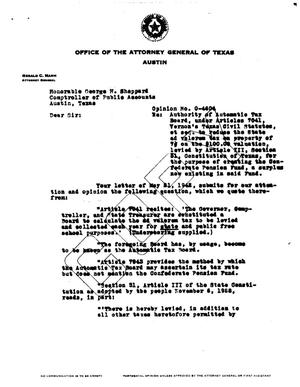Primary view of object titled 'Texas Attorney General Opinion: O-4604'.