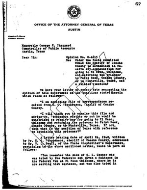 Primary view of object titled 'Texas Attorney General Opinion: O-4615'.