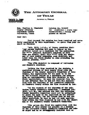 Primary view of object titled 'Texas Attorney General Opinion: O-4629'.