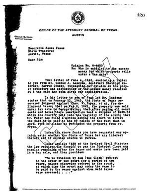 Primary view of object titled 'Texas Attorney General Opinion: O-4630'.