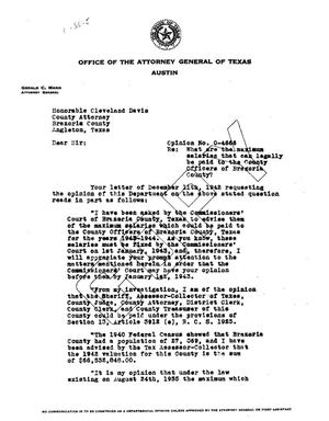 Primary view of object titled 'Texas Attorney General Opinion: O-4666'.