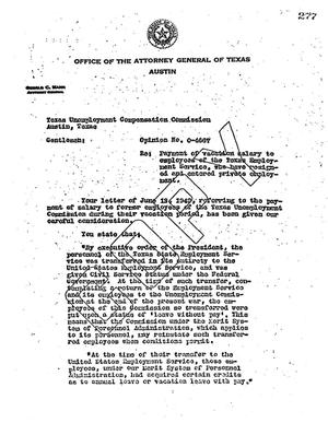 Primary view of object titled 'Texas Attorney General Opinion: O-4667'.