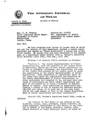 Primary view of object titled 'Texas Attorney General Opinion: O-4670'.
