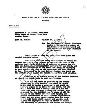 Primary view of object titled 'Texas Attorney General Opinion: O-4676'.