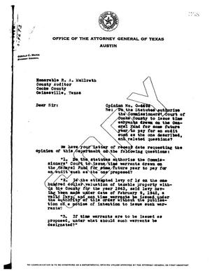 Primary view of object titled 'Texas Attorney General Opinion: O-4692'.