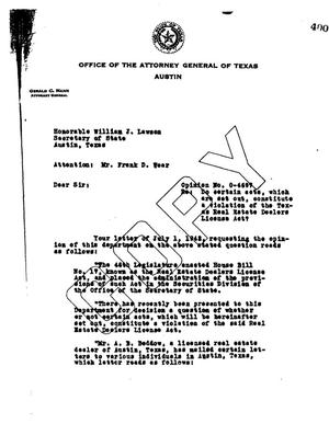 Primary view of object titled 'Texas Attorney General Opinion: O-4697'.