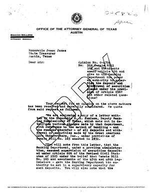Primary view of object titled 'Texas Attorney General Opinion: O-4704'.