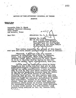 Primary view of object titled 'Texas Attorney General Opinion: O-4707'.