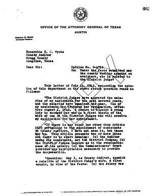 Primary view of object titled 'Texas Attorney General Opinion: O-4710'.