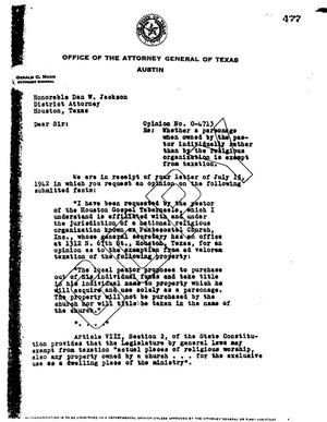 Primary view of object titled 'Texas Attorney General Opinion: O-4713'.