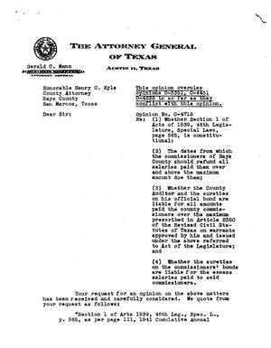 Primary view of object titled 'Texas Attorney General Opinion: O-4715'.