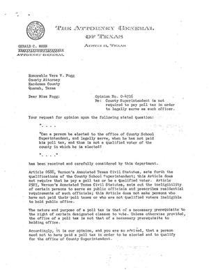 Primary view of object titled 'Texas Attorney General Opinion: O-4716'.