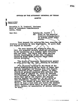 Primary view of object titled 'Texas Attorney General Opinion: O-4717'.