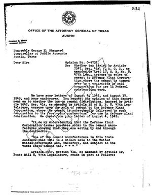 Primary view of object titled 'Texas Attorney General Opinion: O-4731'.