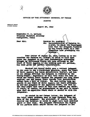 Primary view of object titled 'Texas Attorney General Opinion: O-4739A'.