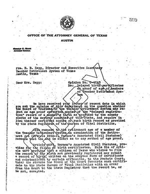 Primary view of object titled 'Texas Attorney General Opinion: O-4743'.