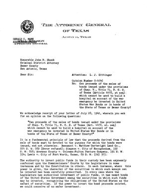 Primary view of object titled 'Texas Attorney General Opinion: O-4746'.